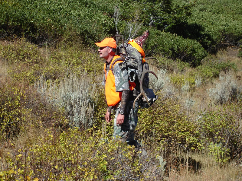 Hauling the elk up to the sadle with my HideAway Expeditions frame pack