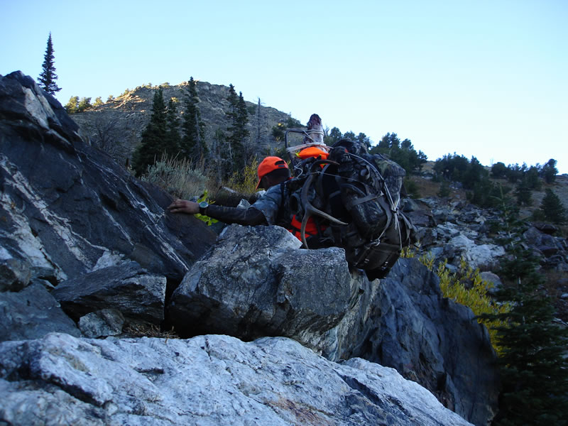 Packing out my 5x5 bull elk up some boulder fields
