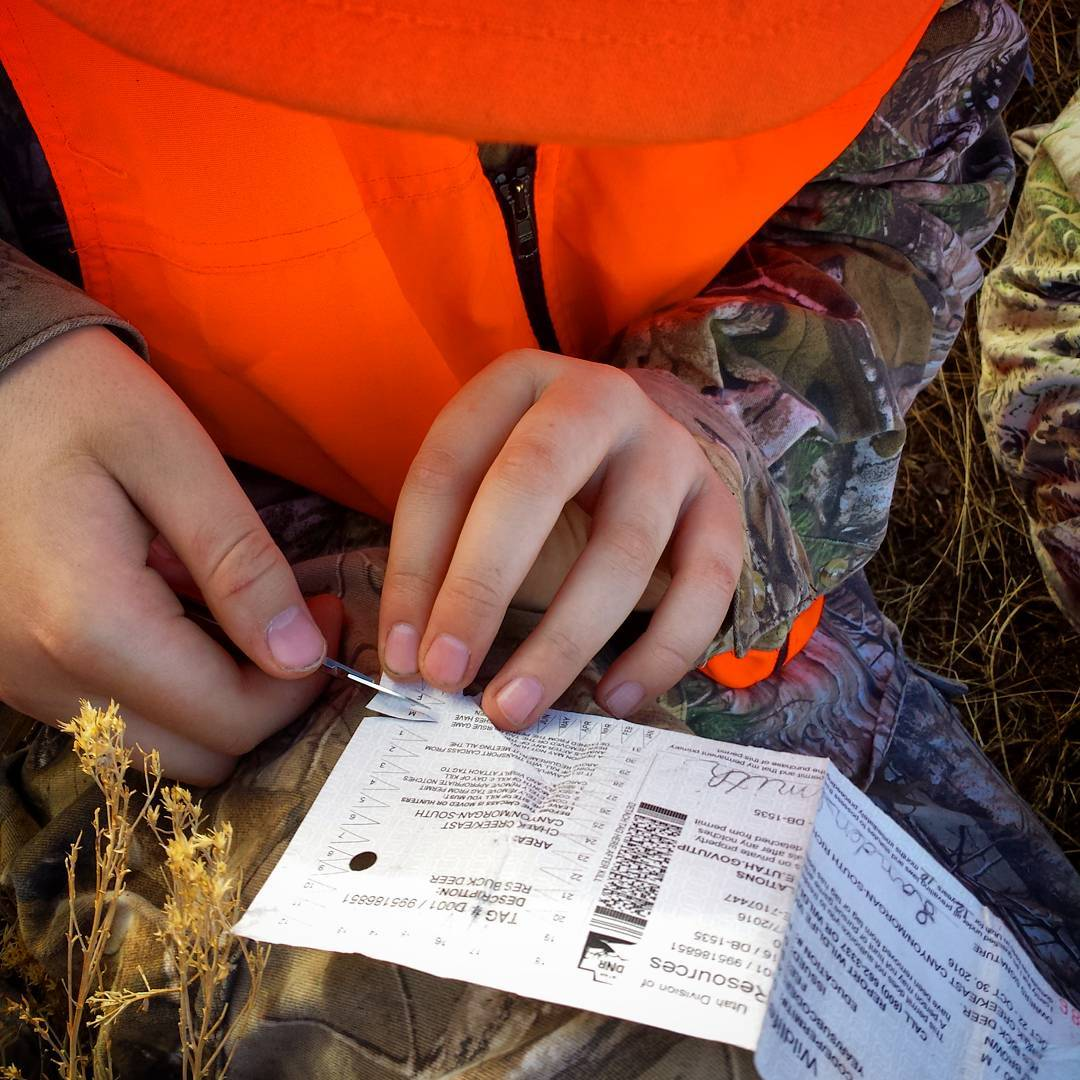 Landen notching his first tag.