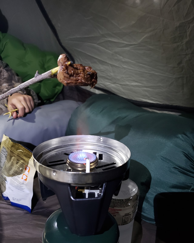 Cooking fresh tenderlion in the tent.